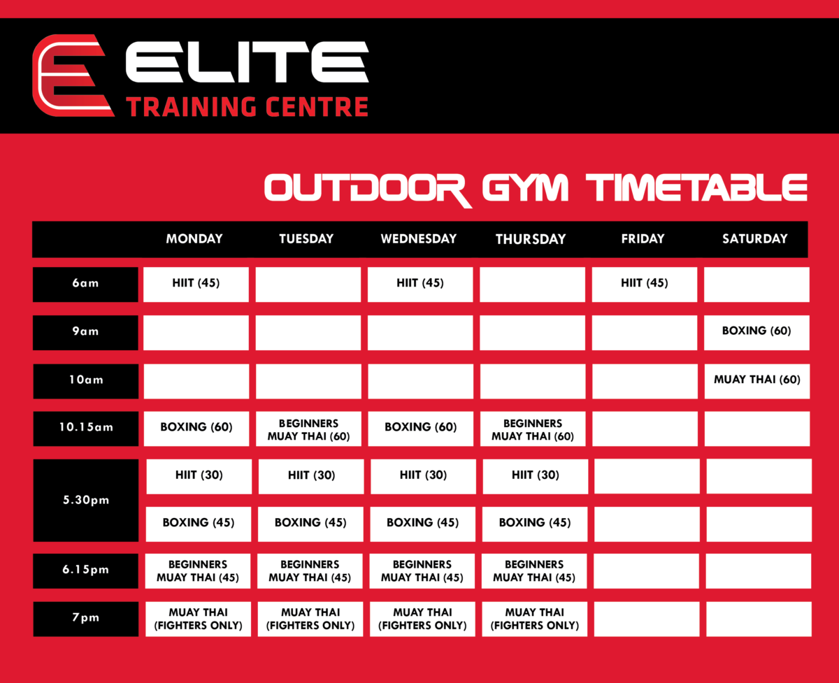 Outdoor Gym Timetable