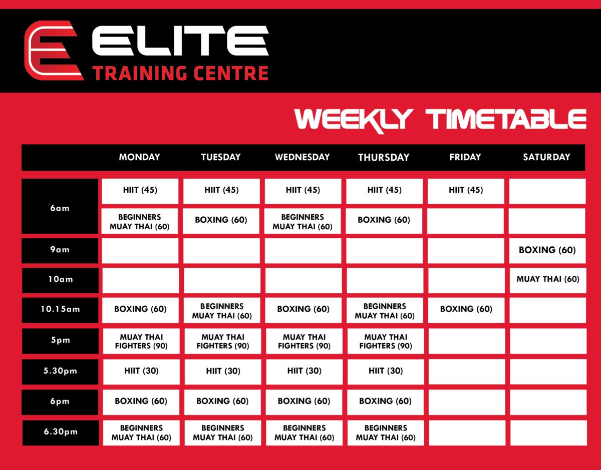 Gym Timetable